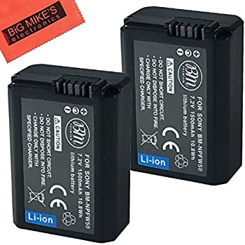 sony np fw50. bm premium 2 pack of np-fw50 batteries for sony dsc-rx10 iv, np fw50 g
