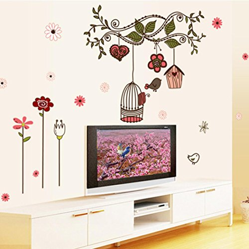 Hatop 50 70cm bird cage wall sticker home art decor wall for Home decor uae