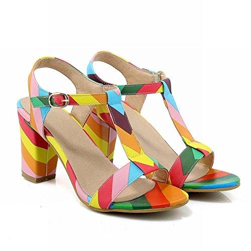 Charm Fot Kvinna Mode T Spänne Chunky Klack Sandaler Multicoloor