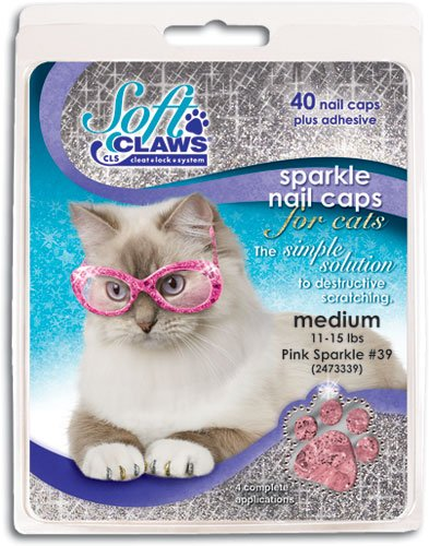 Soft Claws Feline Nail Caps - 40 Nail Caps and Adhesive for Cats (Pink Sparkle