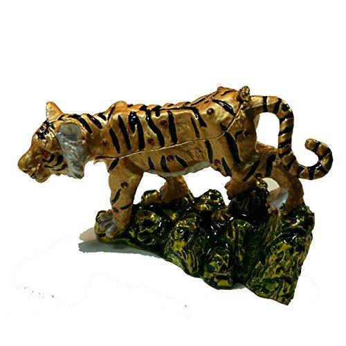 [NEW] Jewelry Trinket Box Figurine Case Vintage Collectible for Keepsake Art Decor Holder Organizer Pill Box - Magnet Storage, Jeweled w/ Swarovski Crystals ( Animals / Vehicles ) (Tiger - Stone)