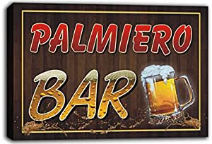 scw3-072640 PALMIERO Name Home Bar Pub Beer Mugs Cheers Stretched Canvas Print Sign