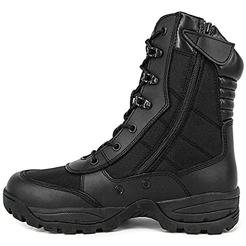 WIDEWAY Men's 8'' Inch Military Tactical Boots Full Grain Leather Force Combat Boots Outdoor Work Duty Water Resistant Boots With Side Zipper
