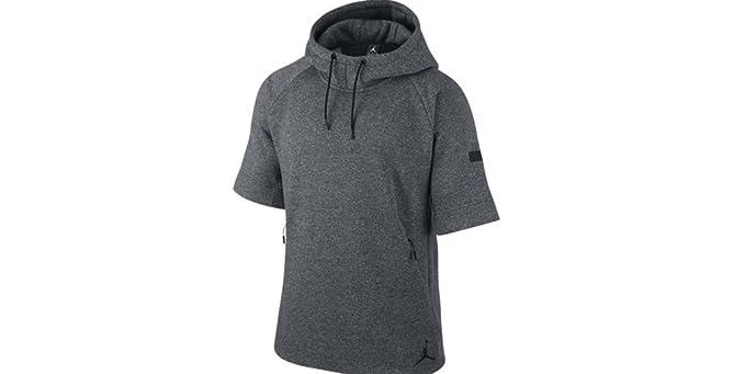 Jordan Fleece Short Sleeve Hoodie (M, Heather Dark Grey/Black) at ...