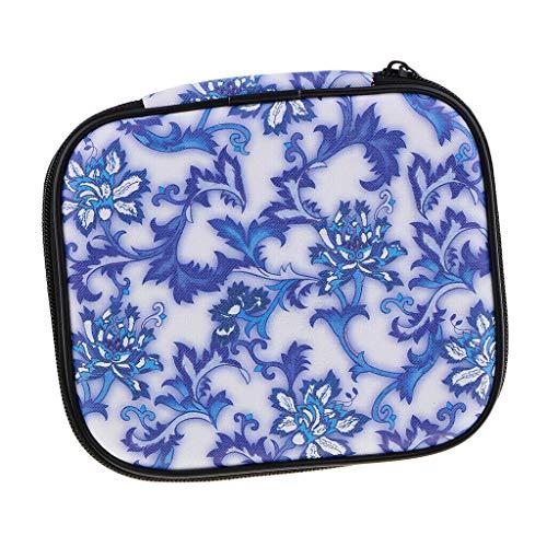 (Porcelain Crochet Hooks Pouch Knit Needles Organizer Zipper Bag Case Holder (Color - Blue))