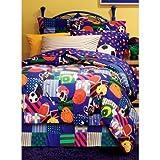 D-UNKN 6pc Boys Twin Sports Comforter Set Sheet Set, Multicolored, Children Mix Sports Themed Pattern, Bedding Squares, All Star Baseball Football Soccer Basketball Pattern