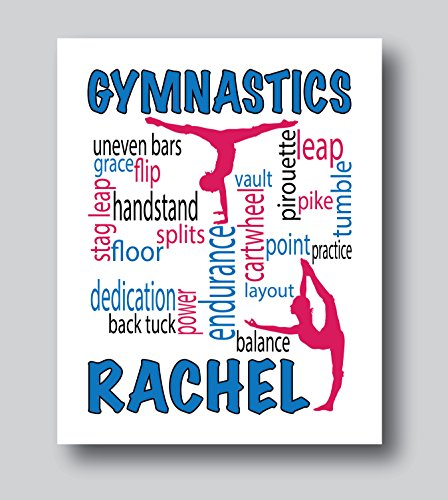 Personalized Gymnastics Gifts For Girls, Gymnastics Decor For Girls Bedroom, 8x10 or 11x14 Gymnastics Print Only, Gymnastics Presents For Girls
