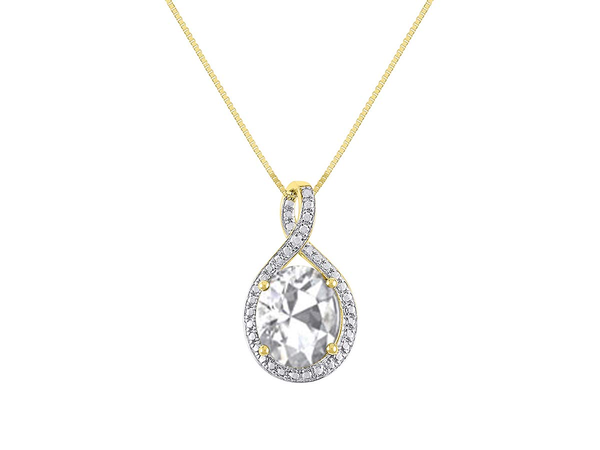 Diamond & White Topaz Pendant Necklace in 14K Yellow Gold With 18'' Gold Chain - April Birthstone 12X10 Oval Color Stone Halo Designer