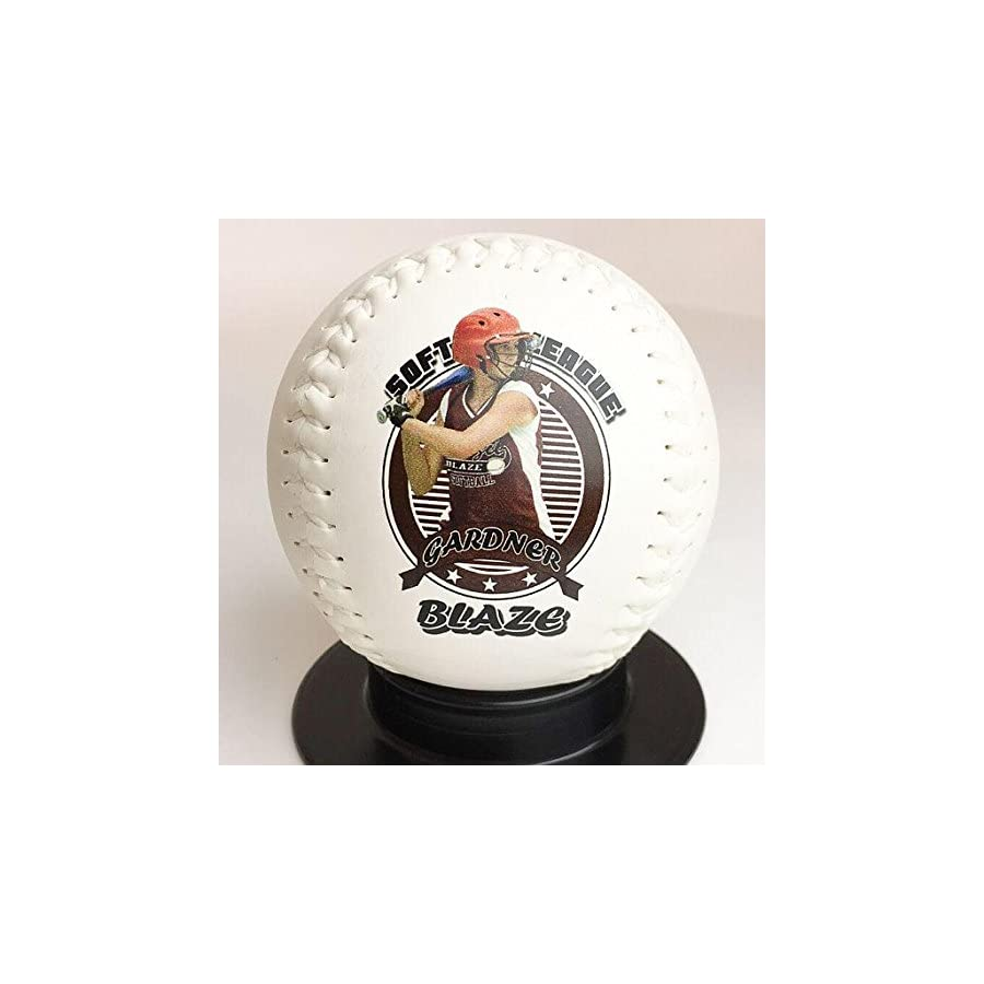 Custom Personalized Softball Ships in 1 Day, High Resolution Photos, Logos & Text on Softball Balls for Players, Trophies, MVP Awards, Coaches, Personalized Gifts