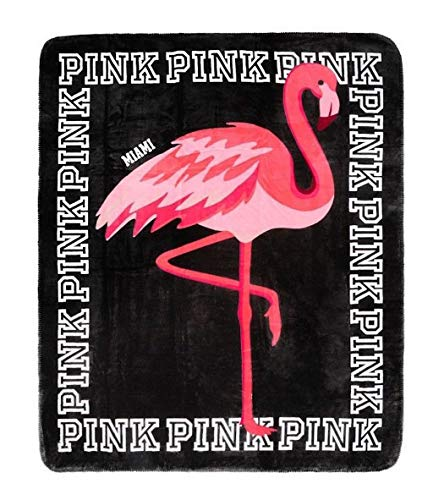 Victoria's Secret Pink Sherpa Miami Flamingo Logo Black Pink White Throw Blanket