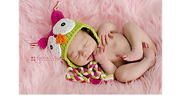 9fa2804ee Amazon.com: Baby girl hat, crochet owl hat, owl, photo prop, watermelon  cotton owl, baby shower gift, coming home outfit, crochet newborn hat:  Handmade