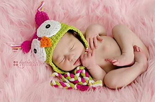 Baby girl hat, crochet owl hat, owl, photo prop, watermelon cotton owl, baby shower gift, coming home outfit, crochet newborn hat