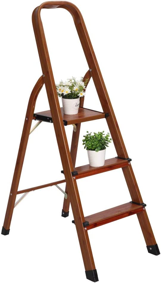 LUISLADDERS 3 Step Ladder Woodgrain Aluminum Lightweight Ladders Folding Step Stool for Home and Kitchen Ladder 330lb (3 Step)