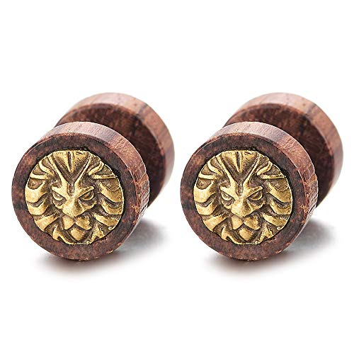 Men Women Steel Gold Lion Head Wood Circle Stud Earrings Cheater Fake Ear Plugs Gauges