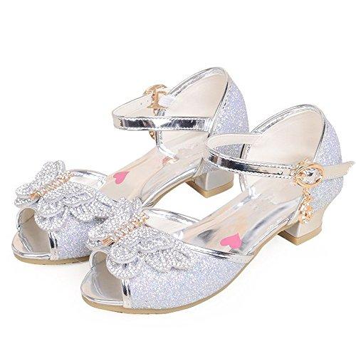 Fancyww Girls Low-Heels Bling Girls Dress Shoes Bow Princess Mary Jane Sandals(Silver-36/4 M US Big Kid) -