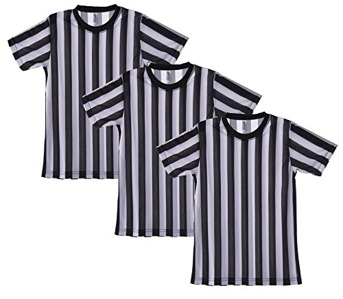 Easy Ref Costume (Mato & Hash Children's Referee Shirt Ref Costume Toddlers Kids Teens - 3PK Black/White CA2004K XL)