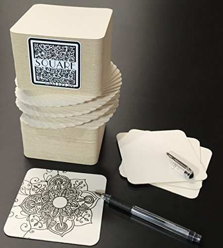 375 Blank SQUARE Coasters for Drinks, Zentangle or Craft Projects by PRODUCT80