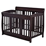 Coffee Pine Wood + Iron Baby Crib With Ebook