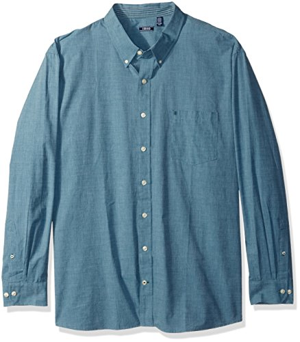 IZOD Men's Size Essential Check Long Sleeve Shirt (Big Slim), Deep Teal, 5X-Large Tall by IZOD