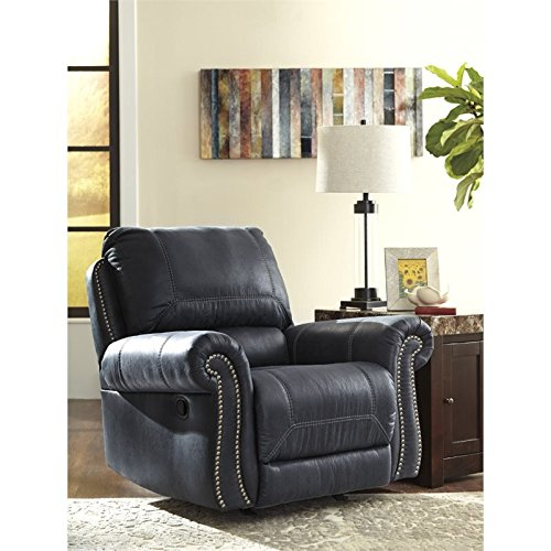 Ashley Furniture Signature Design - Milhaven Faux Leather Upholstered Rocker Recliner - Contemporary - Navy