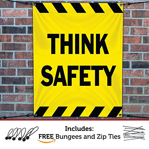HALF PRICE BANNERS | Think Safety Vinyl Banner | Mesh Wind Resistant | 3'x2' Yellow | Free Ball Bungees & Zip Ties | Easy Hang Workplace Poster Sign | Business | Various Sizes | Made in USA