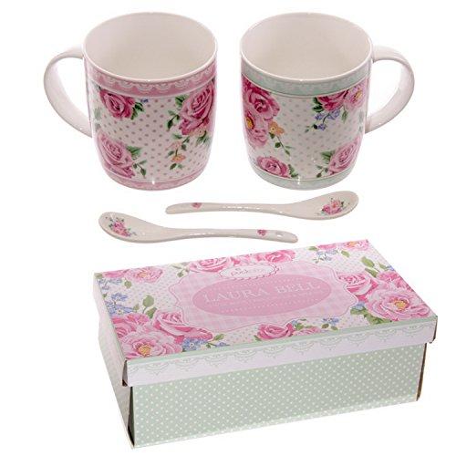 Gifts Xmas New Year MUGS01 Chintz Design Bone China Mug Set for 2 with Spoons