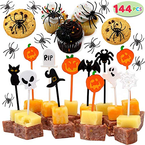 JOYIN 144 Pieces Spider Ring Cupcake Toppers and Halloween Appetizer Picks for Halloween Party Supplies Halloween Party Cupcake Decorations Halloween Food -
