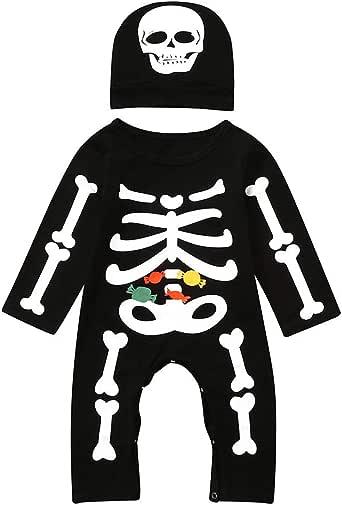 FELZ Bebe Halloween Pelele para Dormir Monos Bodies Manga Larga Bebe Niño Halloween Disfraz Esqueleto Peleles de Manga Larga Trajes de Disfraces de Halloween: Amazon.es: Ropa y accesorios