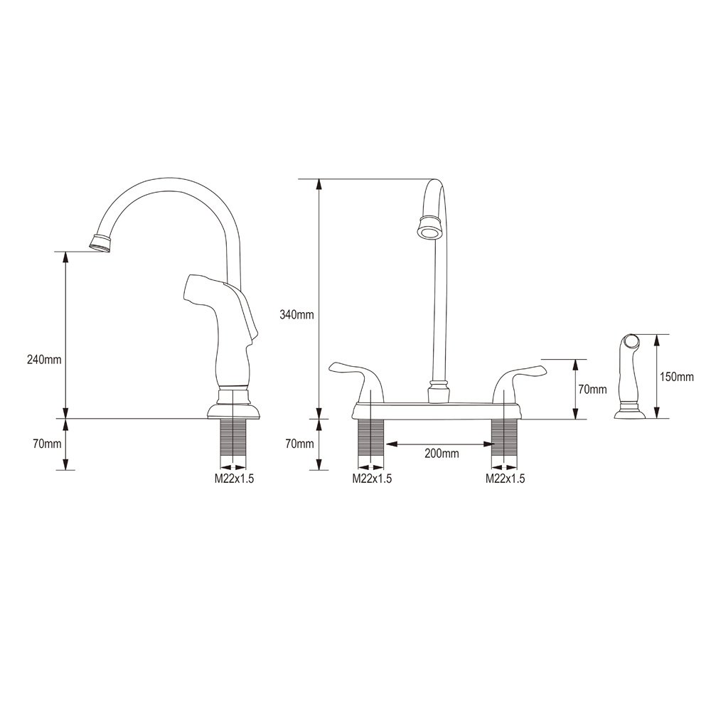 Shaco Modern Lead Free High Arc Swivel Spout Two Handle Side Sprayer Kitchen Faucet Brushed Nickel Finish Buy Online In Aruba At Desertcart Productid 41209155