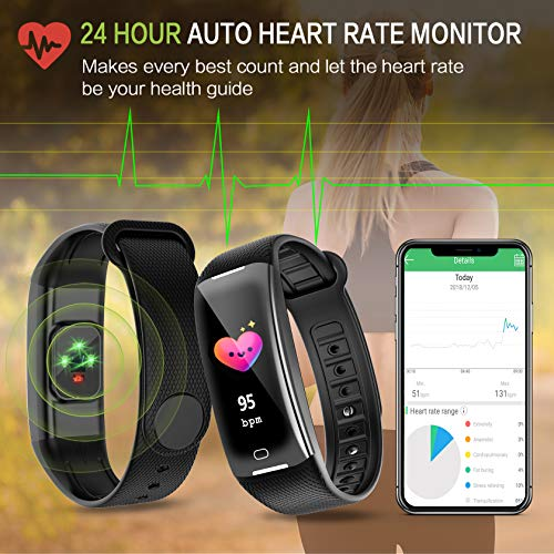 KARSEEN Fitness Tracker Smart Watch H3 Color Screen for Blood Pressure and Heart Rate Monitor Phone Enabled IP67 Waterproof Pedometer Sports Watch for Men (Black) by KARSEEN (Image #2)