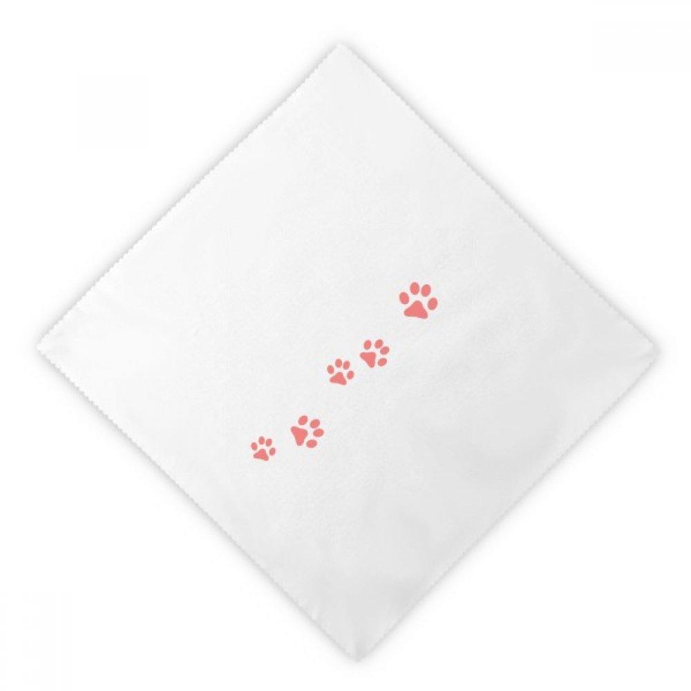 Cat Meow Animal Pink Footprint Art Paw Print Dinner Napkins Lunch White Reusable Cloth 2pcs
