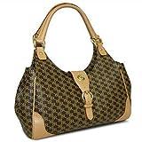 Aristo Brown Medium Buckle Satchel by Rioni Designer Handbags & Luggage