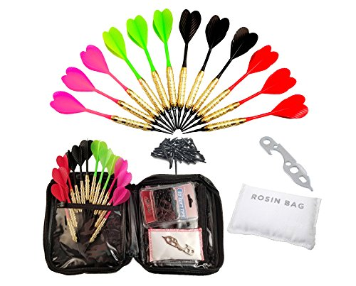2ba 16gm Soft Tip Darts + 24 Black Dart Tips, Rosin Bag, Case & Dart Wrench (Halex Soft Tip)
