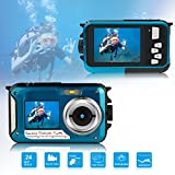 Waterproof Underwater Digital Camera for Snorkeling,Selfie Dual Screen Digital Cameras Waterproof Underwater Video Camera-Holiday,Trip (Blue)