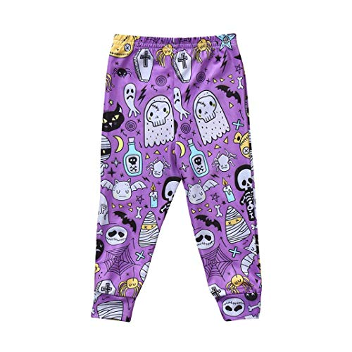 He2Naoly New Pumpkin Bat Print Pants Halloween Cartoon Baby Clothes Toddler Babies Trousers Leggings Baby Boys Girls (Purple, 90)]()