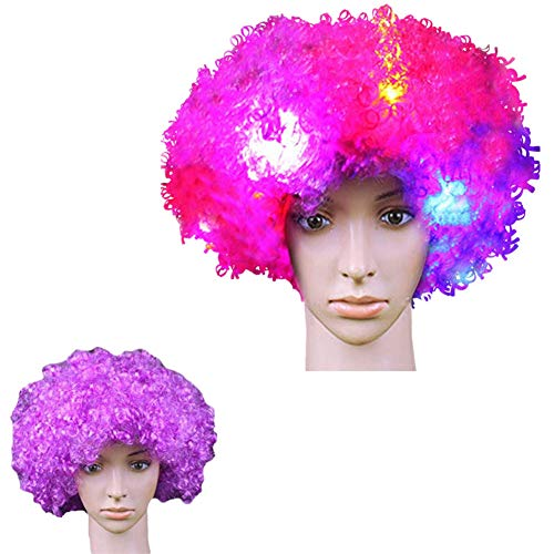 LACGO LED Flash Explosion Wig-Clown Wig, Beautiful Afro Wig, Fancy Dress Parties Wig, Cosplay Wig ,Men & Women 's Hair Wig LED Flash Explosion Hair Heat Resistant for Cosplay(Purple)(Pack of -