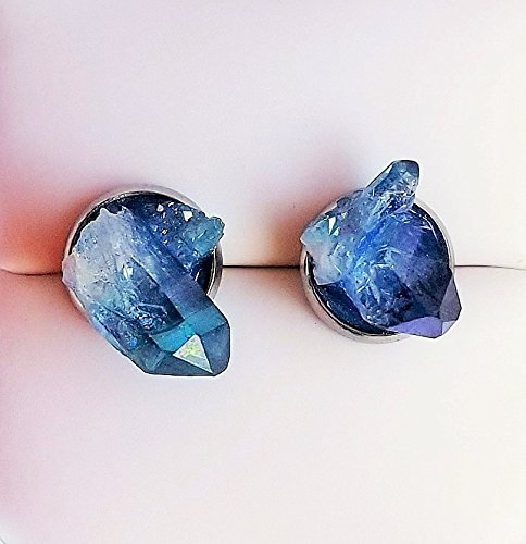 Aqua Aura Crystal Stud Earrings, Surgical Stainless Steel Earrings, Fake Gauge Earrings, Birthday Gift, Large Blue Crystal Ear Studs