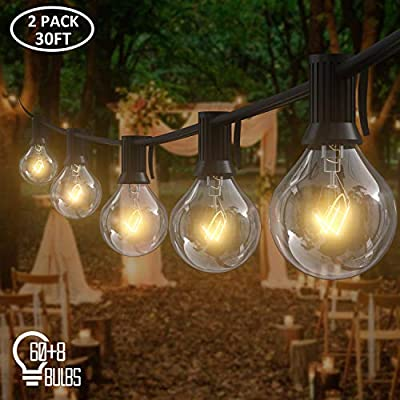 AVANLO 2 Pack 30Ft G40 Globe String Lights with 60 Clear Bulbs & 8 Spare Bulbs, Outdoor Patio, Backyard Hanging Lights or Indoor Room Decor Lights, Weatherproof IP44, 1.8M Extension Line, UL Listed