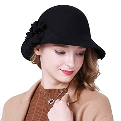 7e05dc26394 Image Unavailable. Image not available for. Color  FADVES Women Wool  Fedoras Vintage Wide Brim Hats Flower Winter Bowler Cloche Hat