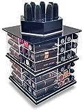 Trasparente Acrilico Girevole / Filatura Porta Rossetto Ordinata Organizzatore - può Tenuta fino a 81 Rossetti (Nero)