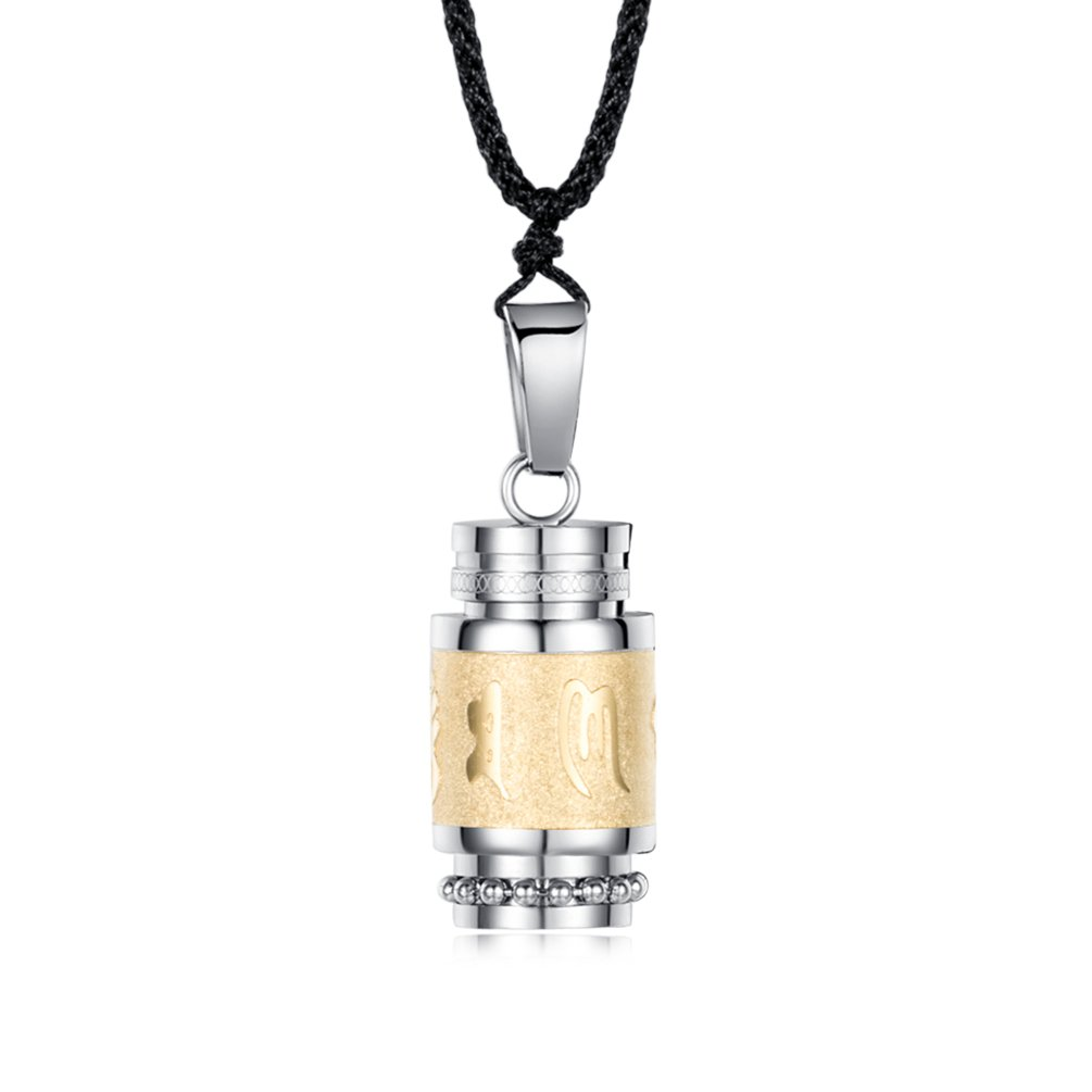 INRENG Men's Stainless Steel Open Lucky Buddha Mantra Pendant Necklace Bottle Container Urn Memorial Gold (Long Pendant)