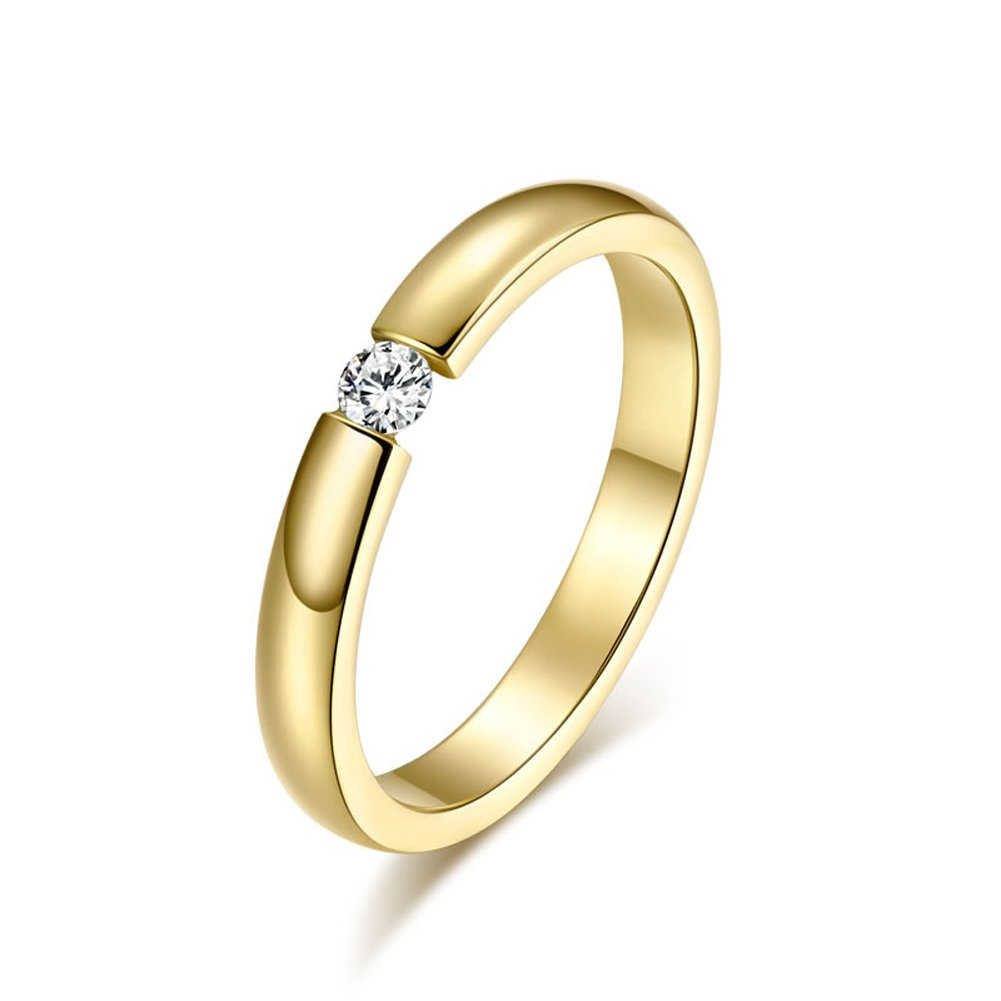 Star Jewelry Gold Plated Stainless Steel 3mm Cubic Zirconia women wedding ring CAJSF023