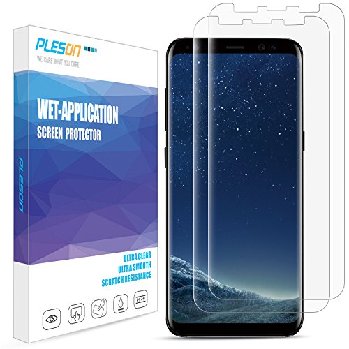 Galaxy S8 Screen Protector, [2-Pack][Full Coverage] Pleson Samsung Galaxy S8 Screen Protector [Case Friendly][Bubble-Free][No Lifted Edges] Wet Applied HD Clear Film Screen Protector for Galaxy S8