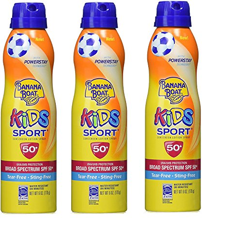 Banana Boat Kids Sport Tear-Free, Sting-Free Broad Spectrum Sunscreen Lotion Spray SPF 50+ 6oz (3Pack) by Banana Boat