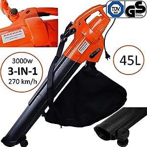 Arebos® Elektrischer 3in1 Laubsauger Laubbläser Laubhäcksler Sauger 3000 W