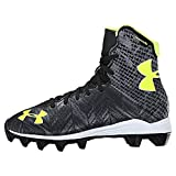 football cleats boys - Under Armour Kids Unisex UA Lax Highlight RM Jr. Lacrosse (Little Kid/Big Kid) Black/High-Vis Yellow Sneaker 5 Big Kid M