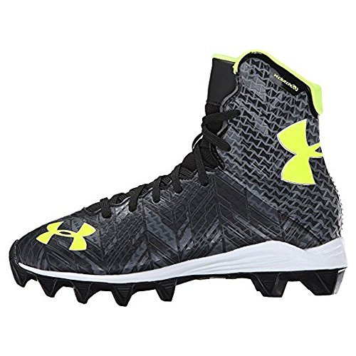 Under Armour Kids Unisex UA Lax Highlight RM Jr. Lacrosse (Little Kid/Big Kid) Black/High-Vis Yellow Athletic Shoe
