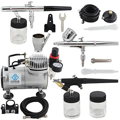 3-Airbrush Gun Spray Air Brush Kit Dual & Single Action Air Compressor Set for Hobby Body Painting , 220v by HJLHYL (Image #5)