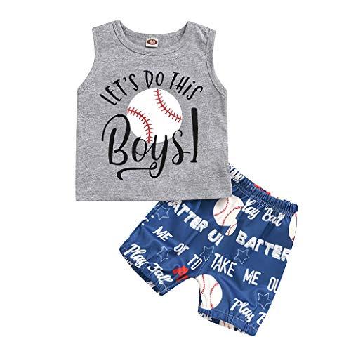 95sCloud 2 stuks baby jongens zomer casual kledingset cartoon bedrukte mouwloos tank top T-shirt + korte broeken shorts…