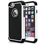 iPhone 6 Case, MagicMobile® Rugged Dual Durable Armor Case for iPhone 6 Impact Resistant Shockproof Double Layer Hard Shell Case with Soft Flexible Black Silicone Skin Cover [ Color: White ] (Compatible Only with iPhone 6 [4.7])